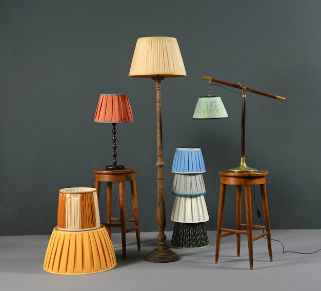 Collection of colorful pleated vintage lampshades Premium Photo