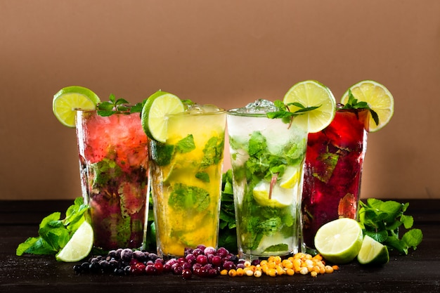 Collection of colorful tropical cocktails Premium Photo