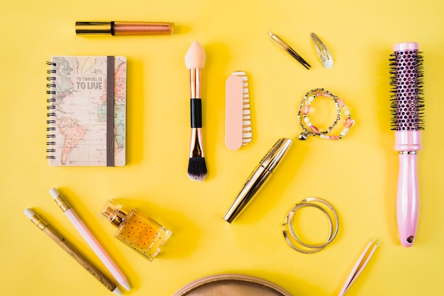 Collection of cosmetics and hairdressing supplies Free Photo