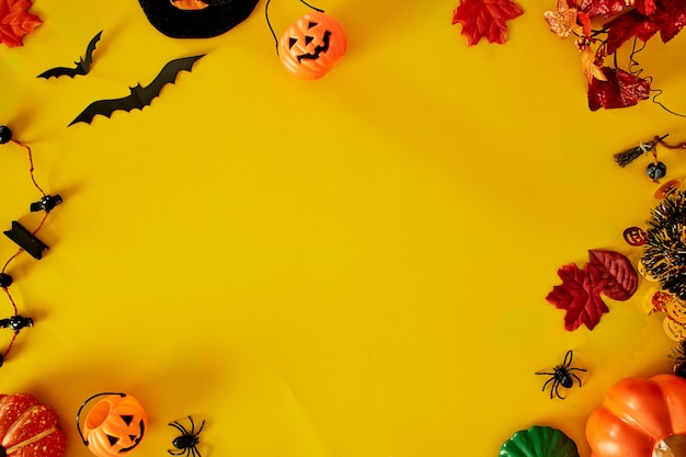 Collection of halloween party objects forming a frame Premium Photo