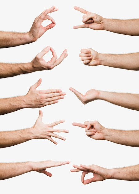 Collection of hand gestures Free Photo