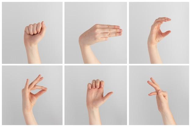手話の手のジェスチャーのコレクション Premium写真