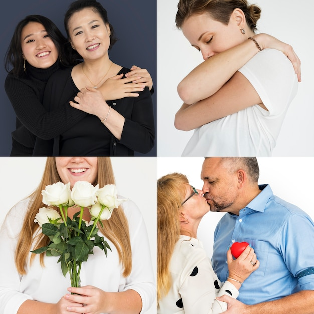 Collection of people love emotion and gesture Premium Photo