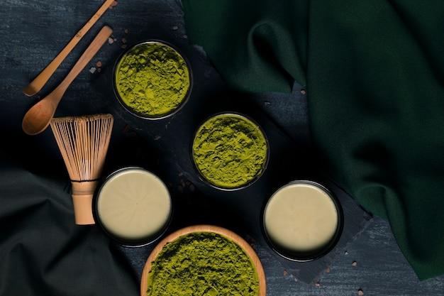 Collection of powder green teas Free Photo