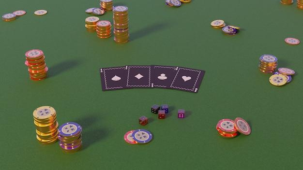 Коллекция реалистичных изометрических фишек казино, фишек для покера и игральных костей на зеленом, дневной 3d-рендеринг Premium Фотографии