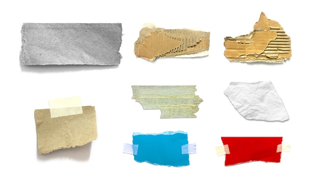 Collection of ripped pieces of paper on white background ...