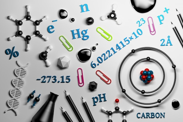 Collection of science chemistry research utencils Premium Photo