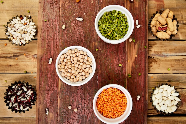 Collection set of beans and legumes. Premium Photo