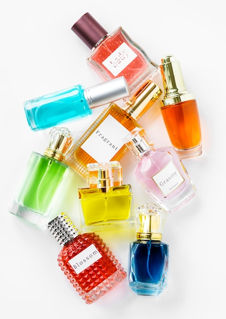 Collection of small perfume bottles Free Photo