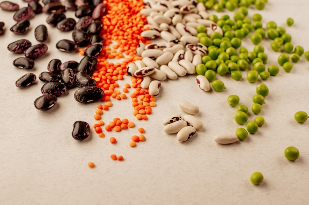 Collection of various dried legumes Premium Photo