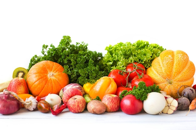 Collection vegetables and fruits on a white background. Premium Photo