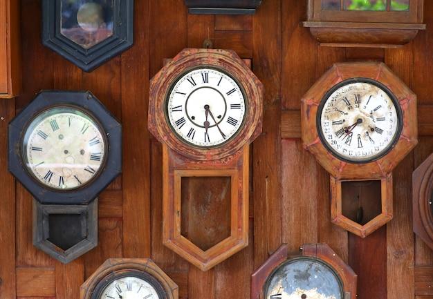 Collection of vintage clocks background Premium Photo