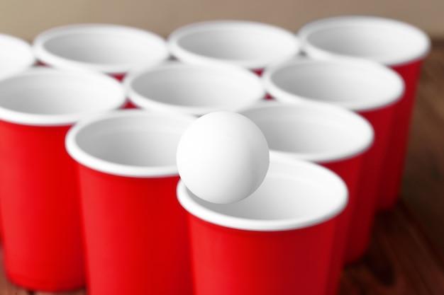 College party sport - beer pong Premium Photo