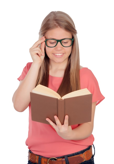 College Student Reading A Book Isolated On White Background