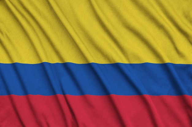 Colombia flag with many folds. Premium Photo
