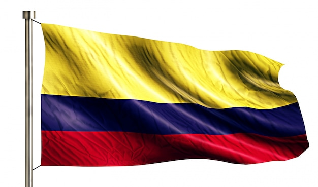 Colombia national flag isolated 3d white background Free Photo
