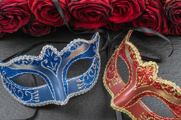 The colombina, red, blue carnival or masquerade masks Premium Photo