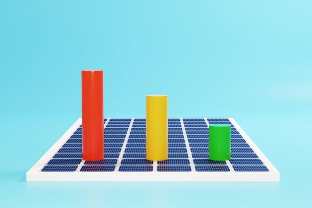 太陽電池パネルのカラービジネスグラフ。 Premium写真