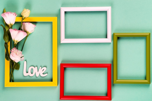 Color frames with flowers Premium Photo