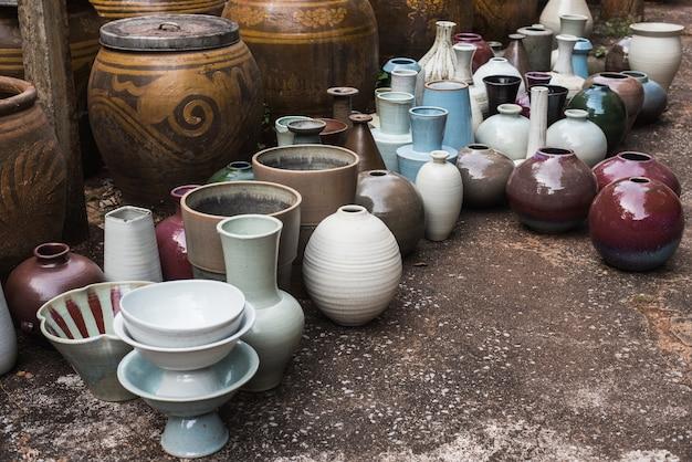Color jars earthenware Premium Photo