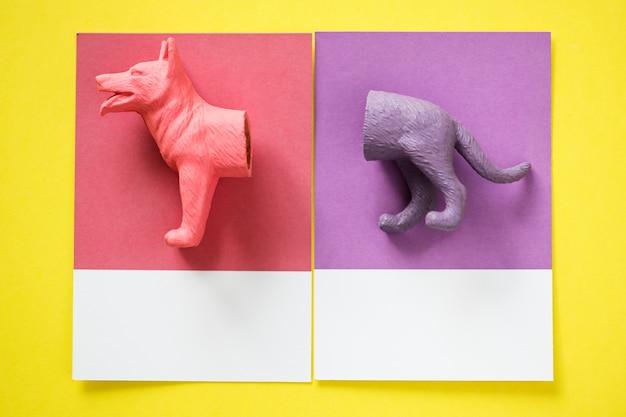 Color miniature dog figure model Free Photo