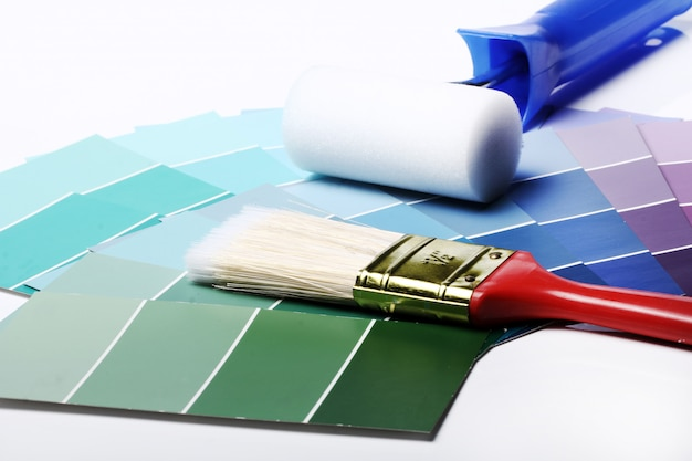 Color palette, catalogue or scheme and roller Free Photo