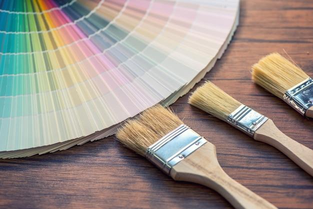 Color palette, guide of paint samples catalog Premium Photo