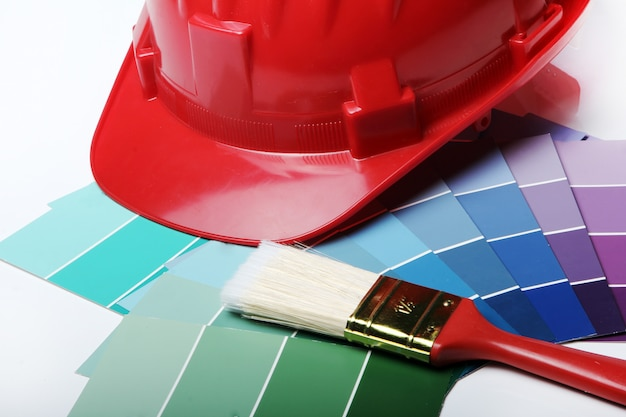 Color pallete and hard hat Free Photo