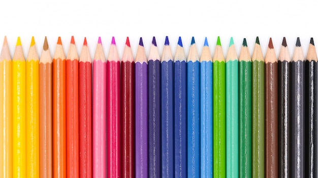 Color pencils isolated on white background. Premium Photo