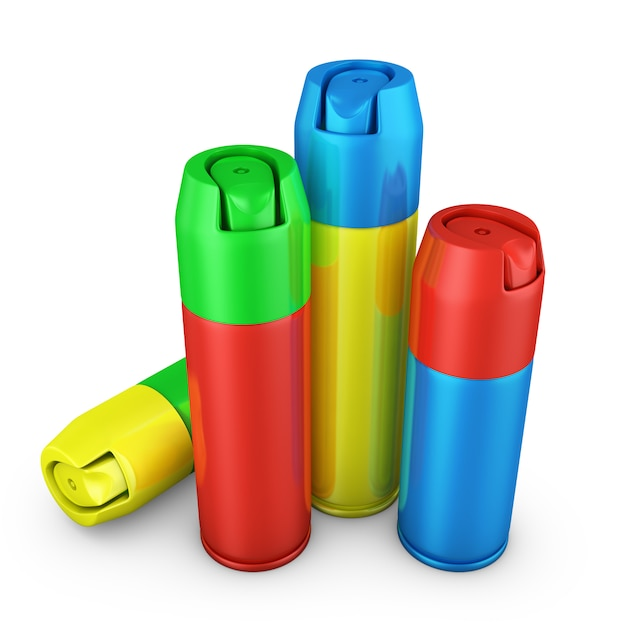 Color spray cans on a white background. 3d render Premium Photo