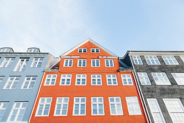 Colored buildings with white windows Free Photo