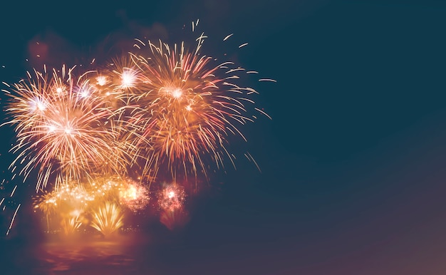 Colored firework background with free space for text, happy new year 2019 Premium Photo