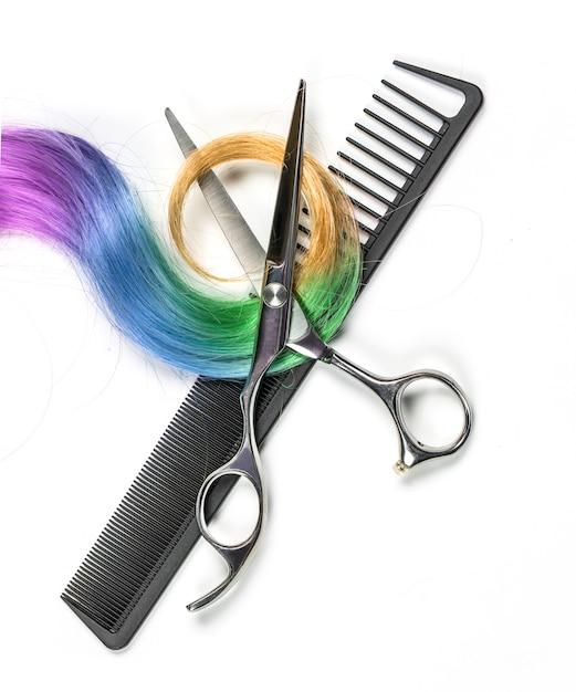 Colored  hair and scissors Premium Photo