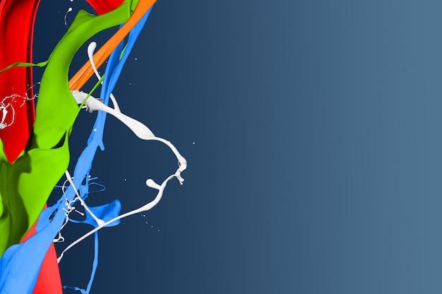 淡色のペンキ飛沫分離に青色の背景 Premium写真