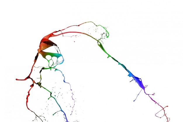 Colored paint splashes isolated on white background. Premium Photo