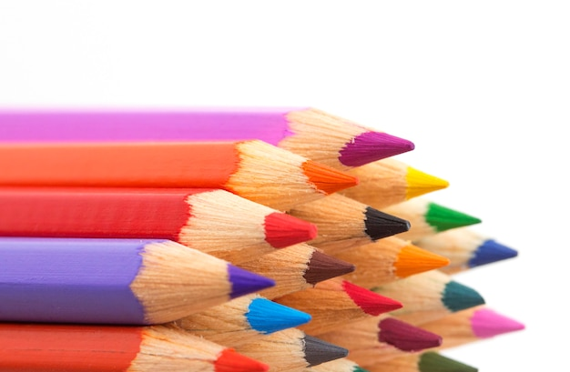 Colored pencils close-up isolated on white Premium Photo