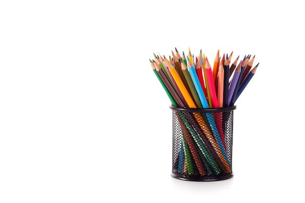 Colored pencils in metal case Premium Photo