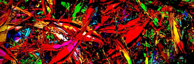 Colored splashes in abstract shape, panoramic image Premium Photo