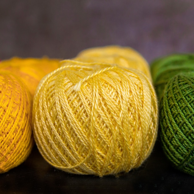 Colored threads for knitting Premium Photo