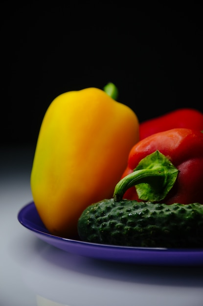 Colored vegetables in a plate Premium Photo