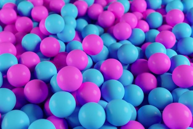 抽象的な青と紫の球の山からカラフルな3 dイラスト Premium写真
