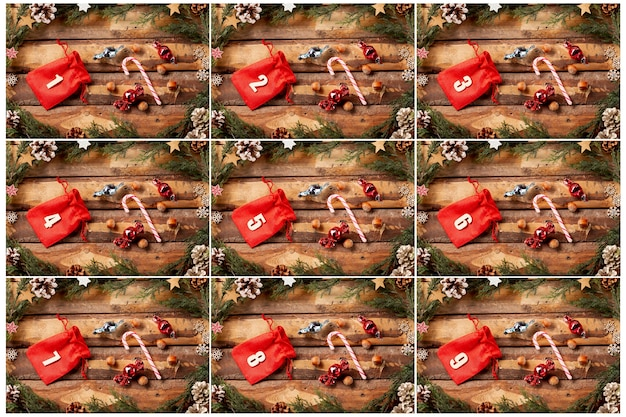 Colorful advent calendar with numbers on Free Photo