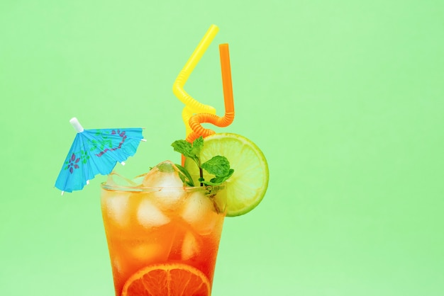 Colorful alcoholic cocktail drink in the glass Premium Photo