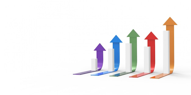 Colorful arrow and graph. growing business concept.3d rendering. Premium Photo