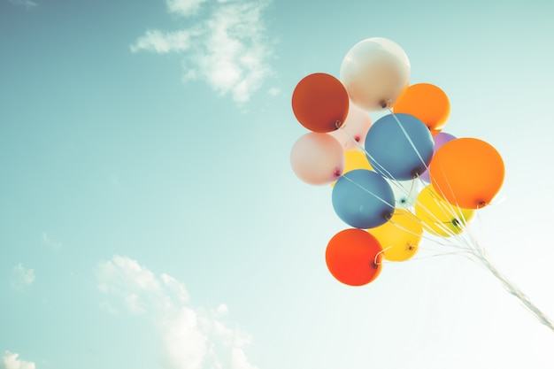 Colorful balloons. concept of happy birthday in summer. Premium Photo
