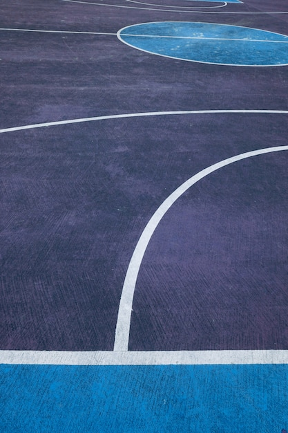 Colorful basketball court in the street Premium Photo