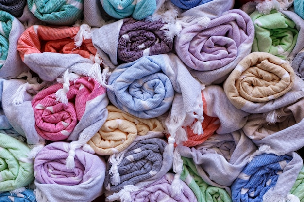 Colorful blankets in a market Premium Photo