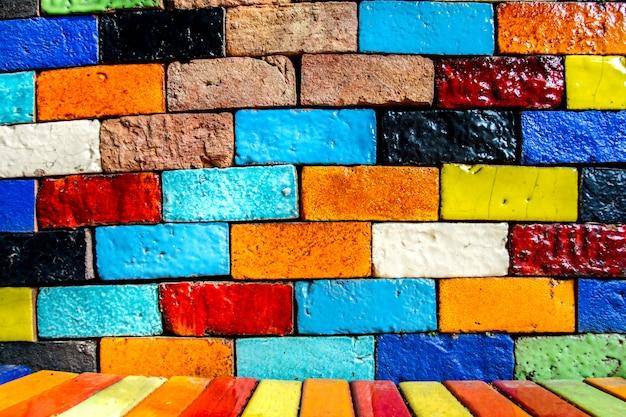 Colorful brick wall background pattern texture vintage Premium Photo
