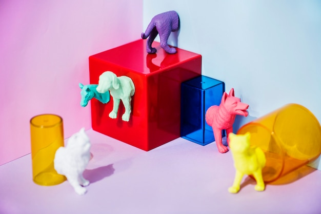 Colorful and bright miniature pet figures Free Photo