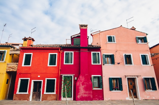 Colorful buildings exterior at street Premium Photo